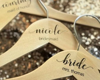 Bridesmaid Wedding Hangers - Wooden ENGRAVED Hanger - NOT stickers or sharpies! - Bridal Dress Hanger Calligraphy names dates and titles!!