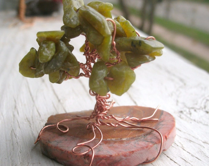 "Miniature Tree Serpentine and copper, stands 1 3/4"" tall, fairy garden tree, mini decor, terranium, gift, temp mounting can be changed"
