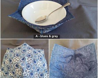 Reversible Quilted Microwave Bowl Pot Holder, Bowl Cozy, Bowl Pot Holder