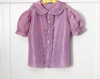 Girls 6:  Ruffled Lavender Blouse, Peter Pan Collar, Front Button Closure, Taffeta