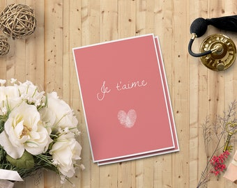 """Je t'aime Card for her   Valentine's Day Card for him   Digital Printable Card 5""""x7""""   Instant Download   Digital Downloadable Card"""