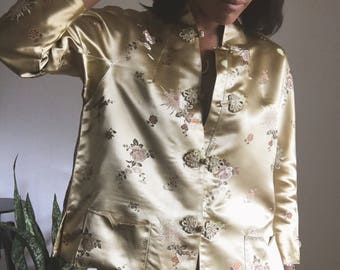 vintage boxy chinese silk bed jacket