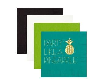 Pineapple napkins, foil stamped napkins, bachelorette party napkins, pool party napkins, birthday party napkins, party like a pineapple
