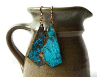 Copper Patina Earrings, statement earrings, geometric earrings, turquoise earrings, mismatched earrings, copper jewelry, artisan earrings
