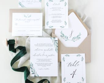 Greenery Invitation Suite | Modern Simple Greenery Invitation Suite | Handlettered Minimal Invitations | 5x7 Wedding Invitation Suite