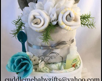 Baby Shower Baby Shower Decor Baby Shower Favor Disposable Diaper Cake Elephant Theme Baby Shower