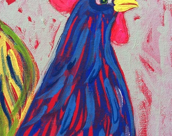 Original Acrylic Painting - Rooster