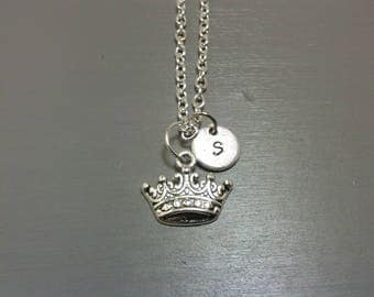 Crown Necklace, Personalized Jewelry, Initial Necklace, Custom Necklace, Hand Stamped Jewelry, Customizable Gifts,  Princess Necklace