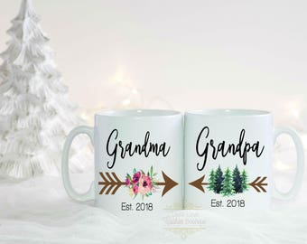 Grandma Grandpa Mugs - New Grandparent Gifts - Grandpa Est - Pregnancy Announcement Mugs -Mother's Day Father's Day Christmas Gifts