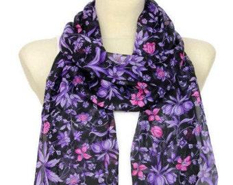 Purple Silk Scarf Elegant Silk Scarf Designer Silk Scarf Lightweight Silk Scarf Unique Summer Outdoors Summer Party Personalized Gift Womens