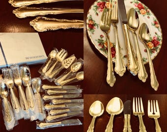Vintage Gold Flatware, Mint Condition, service for 8, hostess serving pieces, I S 1847 Rogers elegant Laurel Gold plated Flatware, Gift