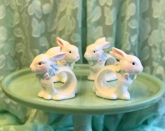 Easter hostess gift etsy porcelain bunny napkin rings figural bunny napkin rings 4 piece standing napkin ring negle Images