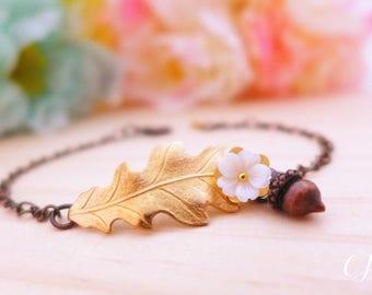 Gold Oak Leaf Bracelet, White Cherry Blossom Bracelet, Acorn Bracelet, Sakura Bracelet, Nature Bracelet Bridal Bracelet Flower Girl Bracelet