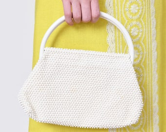 1960s Dotted Off-White Purse with Top Handle 60s Vintage Mod