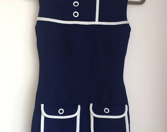 1960s Blue and White Crimplene Mod Shift Dress XS