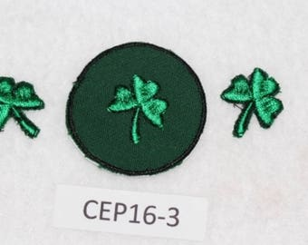 Embroidered Iron On Patch - Clovers (3) - St. Patrick's Day - CEP16-3  FREE SHIPPING in US