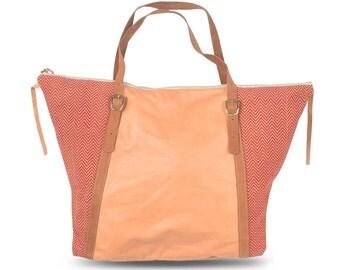 Weekender bag / Brown leather bag woman  / Bohemian bag / Indian pattern fabric / Ethnic bag / Soft leather shoulder bag / Boho bag / Red