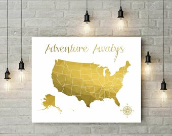 Geometric Gold Push Pin World Map Push Pin Travel Map - Us gold maps