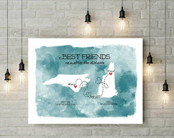 Watercolor Long Distance Art Canvas | Long Distance Gift For Best Friend | Birthday Gift For Bestie | Best Friends Quote  - 39177