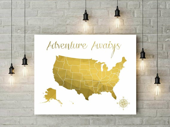 Geometric Gold US Map Christmas Gift Push Pin Map Travel - Map of gold in us