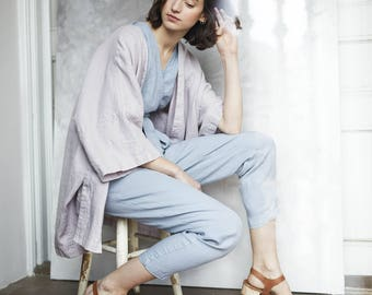 Long WRAP linen jumpsuit / Washed linen overall / Linen romper