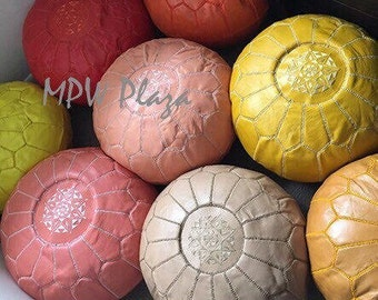 Limited Edition Spring Colors * Moroccan Leather Pouf / Ottoman