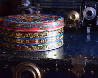 Wonder Fruit Cake Tin - 1950s - General Bakeries Limited - Don Mill's, Canada - Vintage Storage Container