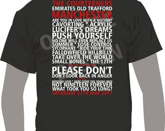 T-Shirt - Courteeners Old Trafford Manchester Saturday May 27th 2017 - Set List T-Shirt