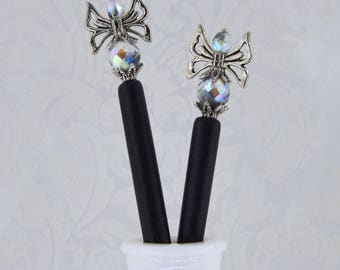 Fae Dreams - Antique Silver, Black, and Clear AB Fairy Hairsticks - FDHS