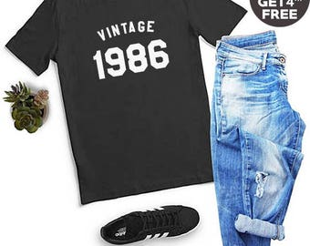 Vintage Shirt 32nd Birthday Gifts 1986 Shirt Birthday Ideas Gifts Ladies Tshirt Birthday Gift Shirt Funny Graphic Shirt Men Tshirt Women Tee