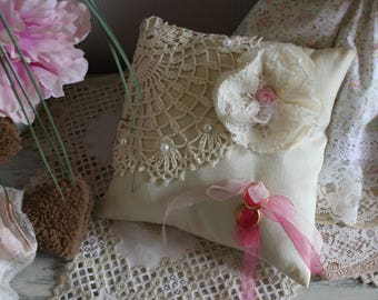 wedding ring pillow lace over taffeta