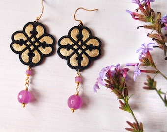 Small dangle earrings LILIAC, lightweight Reinaissance earrings, hand carved paper lace effect with pink beads, Italian renaissance design,