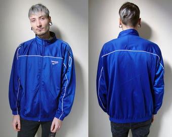 BLUE REEBOK JACKET -track, 90s, sweater, kappa, vaporwave, hip hop, sad boys, nike, adidas, cyber, club kid, aesthetic, windbreaker, shell-