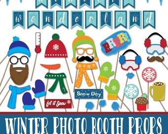 Winter Photo Booth Props and Decorations - Christmas Printable Props - Over 40 Images in Pdf Format -Instant Digital Download