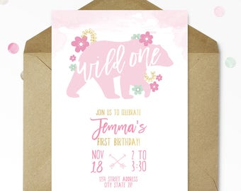 Woodland First Birthday Invitation - Wild ONE - Nature Birthday - Woodland Birthday - Printable - Personalized - 5x7