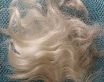 Mohair fiber adult silver grey with white 1 pound