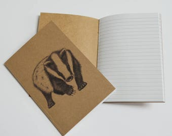 Badger notebook. Recycled A6 notebook with badger illustration. Notebook with badger ink art.