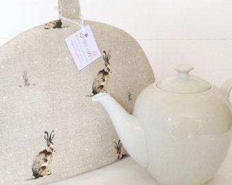 Tea Cosy, Hartley Hare Tea Cosy, Rabbit Tea Cosy, Rabbits, Hares, Linen Tea Cosy, Kitchen Accessory, Time for Tea! Gift