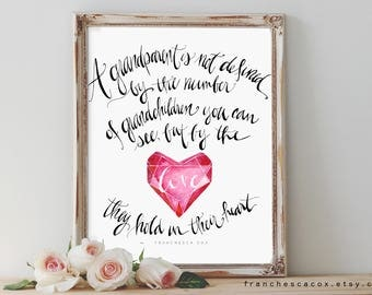 A grandparent is not defined by the number of children you can see but by the love they hold in their heart, Bereavement Print