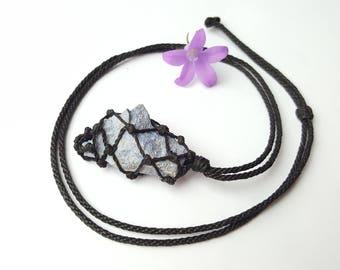 Mens necklace, blue quartz, simple necklace, blue quartz pendant, blue dumortierite, blue necklace, chakra jewellery