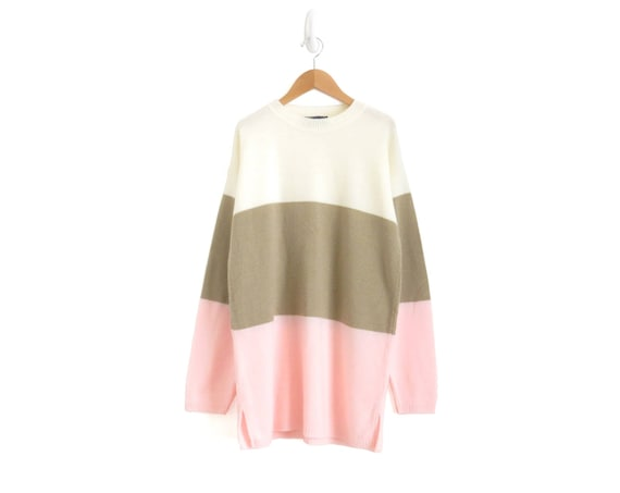 Oversized Sweater Colorblock Pullover Ice Cream Colors Shirt