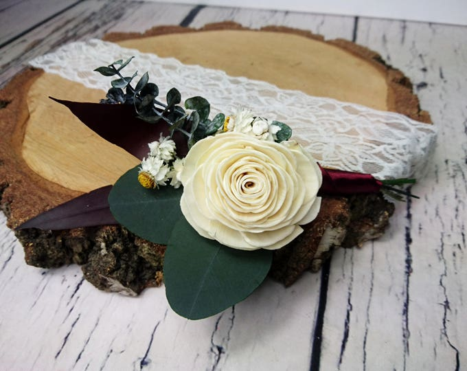 Natural wedding groom's boutonniere preserved eucalyptus ivory sola rose flower greenery fall winter vintage elegant