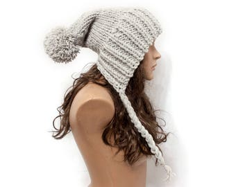 Chunky Knit Hat Women Gray Hat Gray Beanie - Cap pompom - Charlotte Slouchy Ear Flap Hat - Knit Accessories Gift For Her - 63 Color Choices