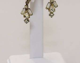 Vintage Costume Honeycomb Rhinestone Dangle Screw Back Earrings