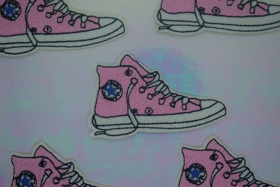 Pink Converse Sneakers Trainers Iron on Patch