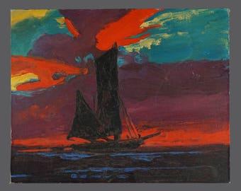 Vintage Sailing Boat Oil Painting Sailboat Canvas Panel 16 x 20 Impressionism Impressionist Art