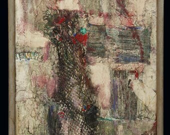 Helen Leibhardt Abstract Mixed Media Painting Oil Collage Abstraction Vintage Mid Century modern MCM MOD Art