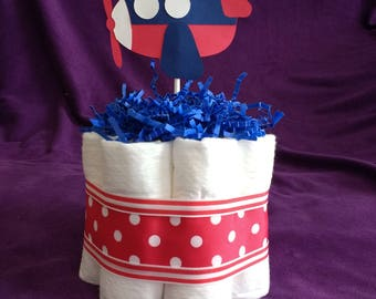 Mini Diaper Airplane Cake - Baby Boy - Shower Cake  - Centerpiece - Blue and Red - Expecting Mother  - Shower Decoration - Baby Gift