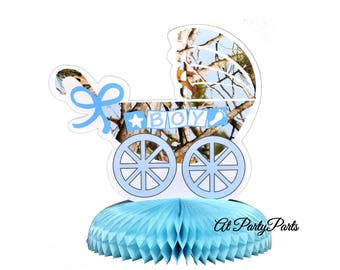 light blue camo baby shower centerpiece, camouflage gender reveal decorations, its a boy, hunting, outdoors theme, woodland, forest, trees