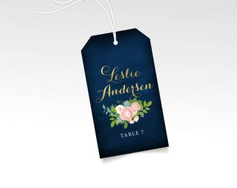 Escort Name Tags & String Wedding Escort Card Favor Hang Tag Gold Calligraphy Navy Chalkboard Pink Peony White Rose Ranunculus Dusty Miller
